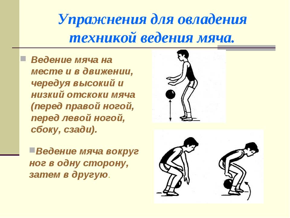 Упражнения для овладения техникой ведения мяча. Ведение мяча на месте и в дви...