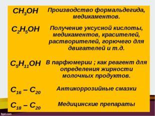 CH3OHПроизводство формальдегида, медикаментов. C2H5OHПолучение уксусной кис