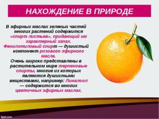 В эфирных маслах зеленых частей многих растений содержится «спирт листьев», п