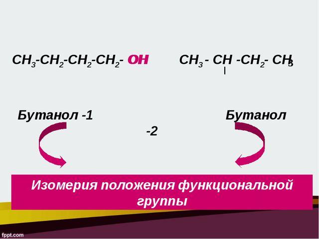 СН3-СН2-СН2-СН2- ОН СН3 - СН -СН2- СН 3 ОН Бутанол -1 Бутанол -2 Изомерия пол...