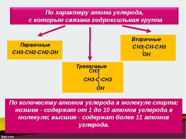 Первичные СН3-СН2-СН2-ОН Вторичные СН3-СН-СН3 | ОН Третичные СН3 | СН3-C-CН3...