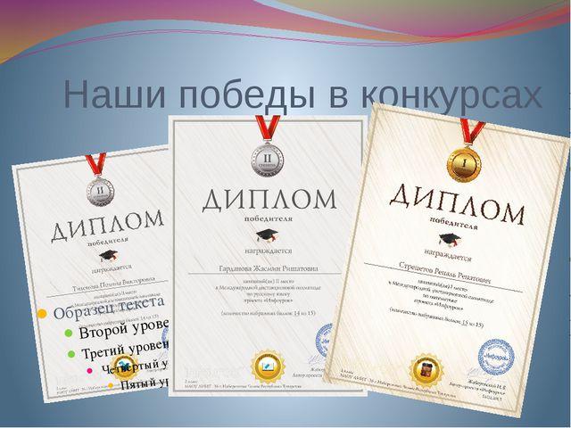 Наши победы в конкурсах