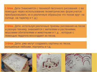 1 блок. Дети Знакомятся с техникой песочного рисования с ее помощью через исп