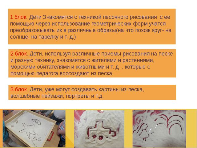 1 блок. Дети Знакомятся с техникой песочного рисования с ее помощью через исп...