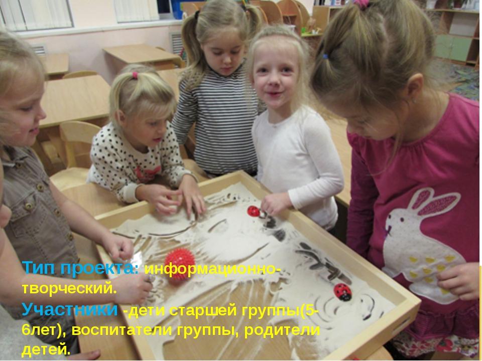 Тип проекта: информационно-творческий. Участники -дети старшей группы(5-6лет)...