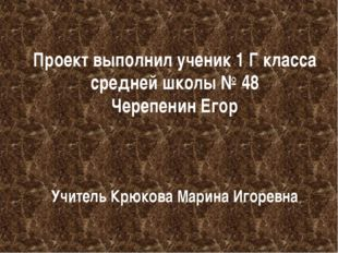 Проект выполнил ученик 1 Г класса средней школы № 48 Черепенин Егор Учитель К