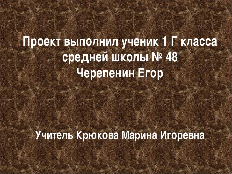 Проект выполнил ученик 1 Г класса средней школы № 48 Черепенин Егор Учитель К...