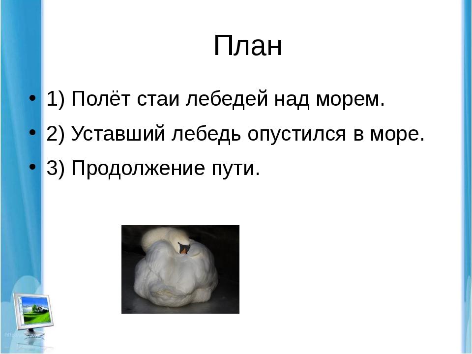 План 1) Полёт стаи лебедей над морем. 2) Уставший лебедь опустился в море. 3...