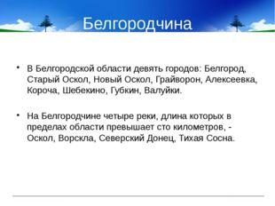 Белгородчина В Белгородской области девять городов: Белгород, Старый Оскол, Н