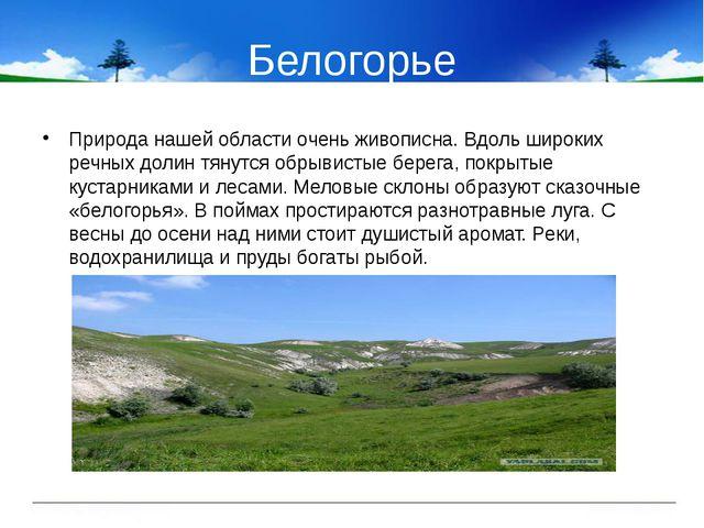 Белогорье Природа нашей области очень живописна. Вдоль широких речных долин т...