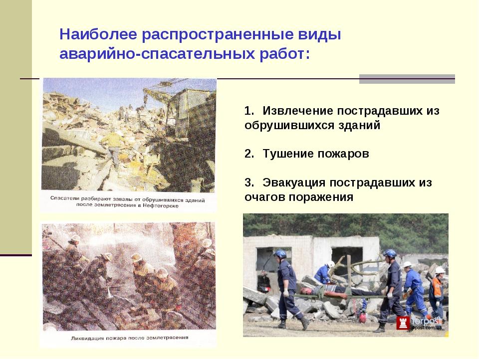 Наиболее распространенные виды аварийно-спасательных работ: Извлечение постра...