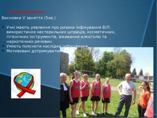 Висновки V заняття (5хв.) Учні мають уявлення про ризики інфікування ВІЛ: вик