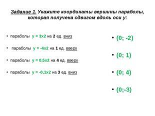 Задание 1. Укажите координаты вершины параболы, которая получена сдвигом вдол