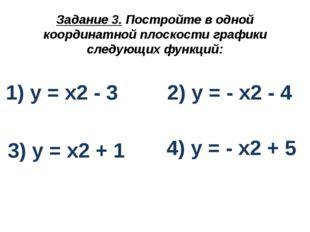 Задание 3. Постройте в одной координатной плоскости графики следующих функций