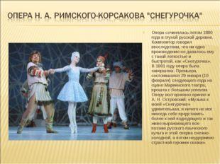 Опера сочинялась летом 1880 года в глухой русской деревне. Композитор говорил