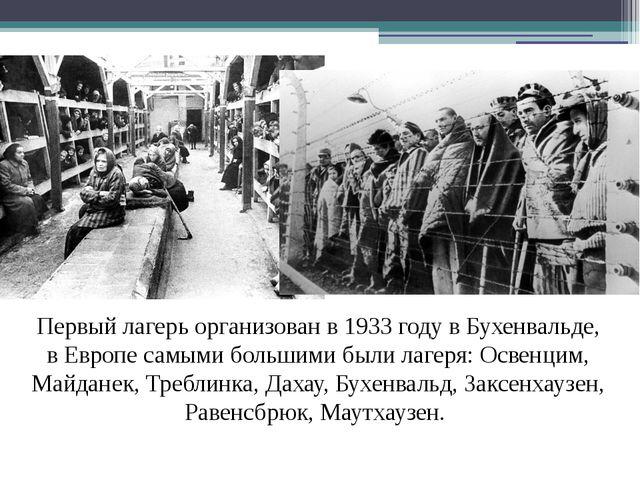 Первый лагерь организован в 1933 году в Бухенвальде, в Европе самыми большими...