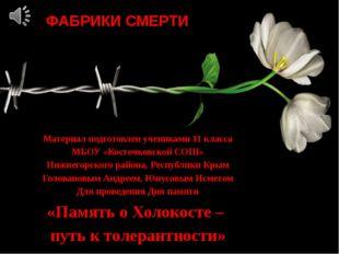 ФАБРИКИ СМЕРТИ Материал подготовлен учениками 11 класса МБОУ «Косточковской