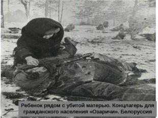 Ребенок рядом с убитой матерью. Концлагерь для гражданского населения «Озари