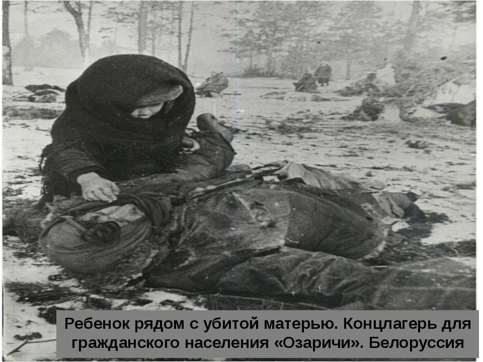 Ребенок рядом с убитой матерью. Концлагерь для гражданского населения «Озари...