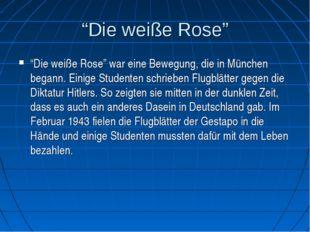 """""""Die weiße Rose"""" """"Die weiße Rose"""" war eine Bewegung, die in München begann. E"""