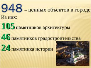 – ценных объектов в городе, Из них: 105 памятников архитектуры 46 памятников