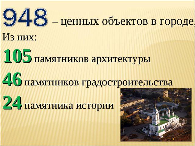 – ценных объектов в городе, Из них: 105 памятников архитектуры 46 памятников...