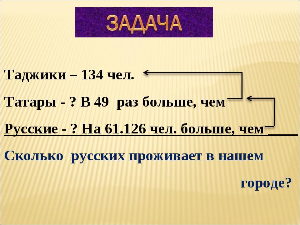 Таджики – 134 чел. Татары - ? В 49 раз больше, чем Русские - ? На 61.126 чел....