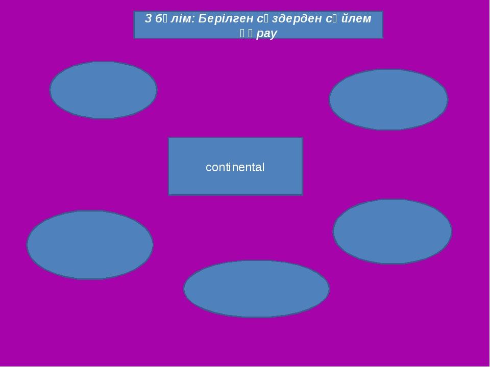 Continental continental 3 бөлім: Берілген сөздерден сөйлем құрау