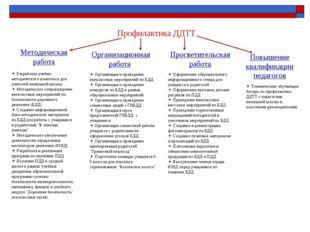 Профилактика ДДТТ Методическая работа Организационная работа Просветительская