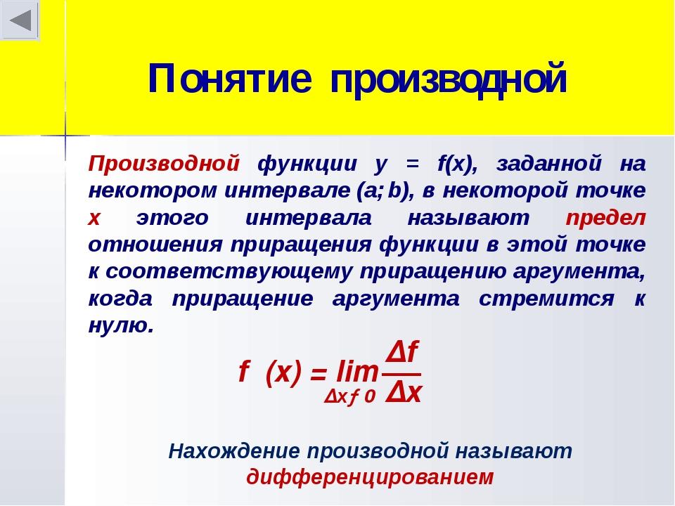 Понятие производной Производной функции у = f(x), заданной на некотором интер...