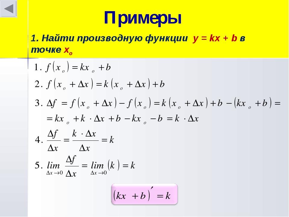 Примеры 1. Найти производную функции y = kx + b в точке хo