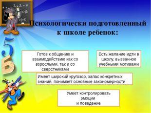 Психологически подготовленный к школе ребенок: Готов к общению и взаимодейств