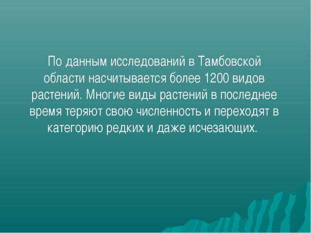 По данным исследований в Тамбовской области насчитывается более 1200 видов ра...