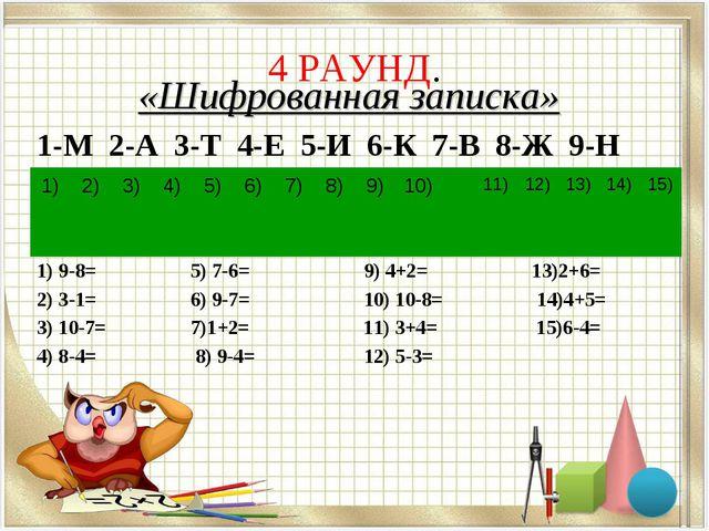 4 РАУНД. «Шифрованная записка» 1-М 2-А 3-Т 4-Е 5-И 6-К 7-В 8-Ж 9-Н 1) 9-8= 5)...
