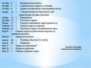 Фрагмент программы « Занимательная математика» Октябрь61Математические ре