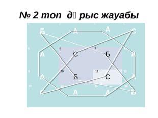 № 2 топ дұрыс жауабы 1  Б2  А 3 А4  С 5 А6 С 7 Б8 А 9 А10 Б