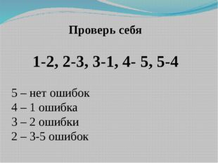 Проверь себя 1-2, 2-3, 3-1, 4- 5, 5-4 5 – нет ошибок 4 – 1 ошибка 3 – 2 ошибк