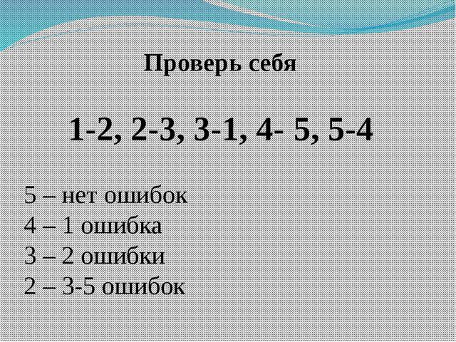 Проверь себя 1-2, 2-3, 3-1, 4- 5, 5-4 5 – нет ошибок 4 – 1 ошибка 3 – 2 ошибк...