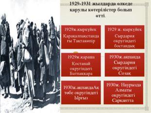 1929-1931 жылдарда өлкеде қарулы көтерілістер болып өтті. 1930ж. Наурызда Алм