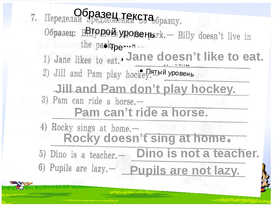 Dino is not a teacher. Pupils are not lazy. Jane doesn't like to eat. Jill a...