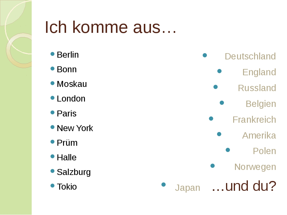 Ich komme aus… Berlin Bonn Moskau London Paris New York Prüm Halle Salzburg T...