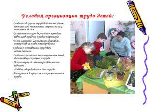 Условия организации труда детей: -Создание в группе трудовой атмосферы, посто