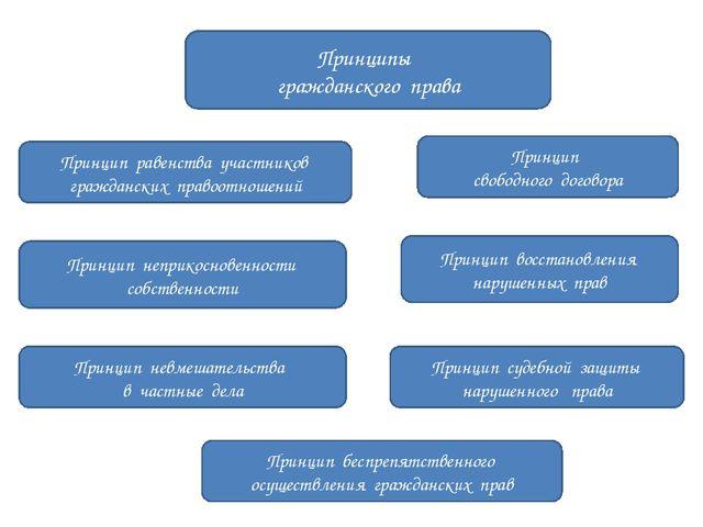Принципы гражданского права Принцип равенства участников гражданских правоот...