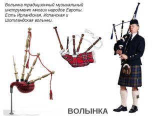 Волынка традиционный музыкальный инструмент многих народов Европы. Есть Ирлан