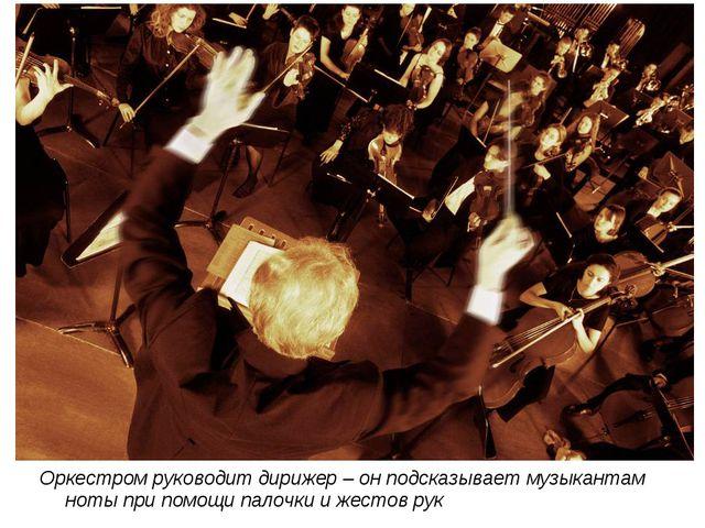 Оркестром руководит дирижер – он подсказывает музыкантам ноты при помощи пало...