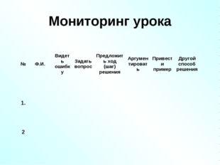 Мониторинг урока №Ф.И.Видеть ошибкуЗадать вопросПредложить ход (шаг) реше