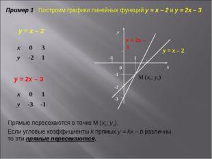 Пример 1. Построим графики линейных функций у = х – 2 и у = 2х – 3. у = х – 2