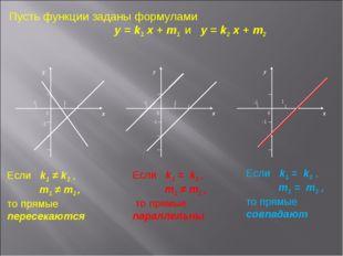 Пусть функции заданы формулами y = k1 x + m1 и y = k2 x + m2 Если k1 ≠ k2 , m