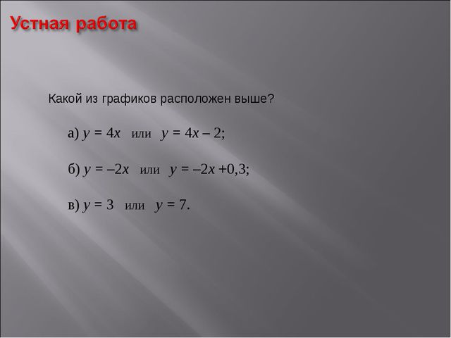 Какой из графиков расположен выше? а) у = 4х или у = 4х – 2;  б) у = –2х и...