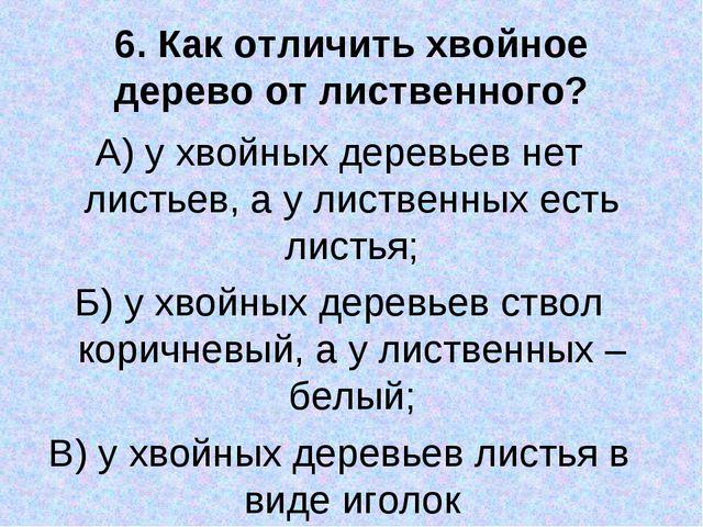 6. Как отличить хвойное дерево от лиственного? А) у хвойных деревьев нет лист...